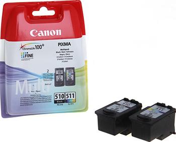 Набор картриджей Canon PG-510/CL-511 2970 B 010 Чёрный/Цветной картридж струйный canon pg 510 cl 511 2970b010 многоцветный черный набор карт для canon 240 260 280 480 495 320 330 340 350 1900 2700
