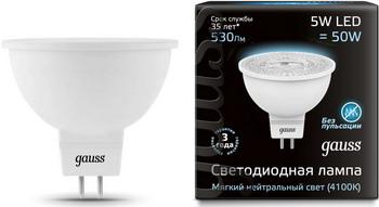 Лампа GAUSS LED MR16 GU5.3 5W 530lm 4100K 101505205 Упаковка 10шт лампа светодиодная gauss 101505205 d