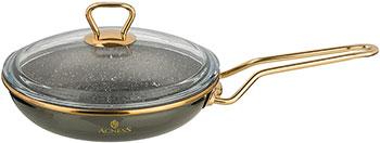 Сковорода Agness эмалированная со стеклянной крышкой ''мраморным'' покрытием Тюдор 20 см чёрный металлик 950-226