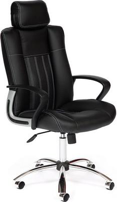 Кресло Tetchair Oxford хром (кож/зам черный черный перфор. PU C 36-6/36-6/06) кресло tetchair twister кож зам черный синий pu c 36 6 pu c 36 39