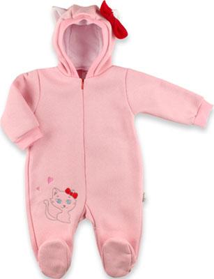цена на Комбинезон Baby Boom Китти с капюшоном и бантиком для девочки футер с начесом Рт. 68 Розовый