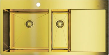 Фото - Кухонная мойка Omoikiri Akisame 100-2-LG-L нерж. сталь/светлое золото 4973089 врезная кухонная мойка 46 см omoikiri akisame 46 lg 4973081 светлое золото