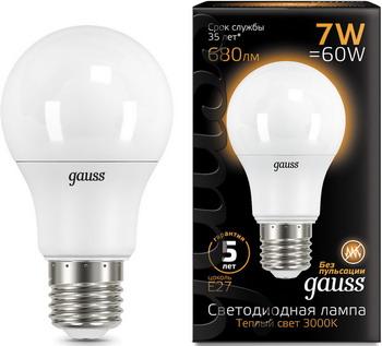 купить Лампа GAUSS LED A60 E27 7W 680lm 3000K 102502107 Упаковка 10шт онлайн