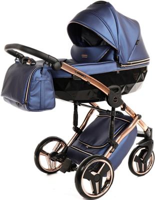 коляски 2 в 1 Коляска детская 2 в 1 Junama FLUO LINE JDFL-01 (кожа синий/короб черный/рама золото)