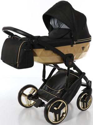 коляски 2 в 1 Коляска детская 2 в 1 Junama MIRROR SATIN JDMS-03 (черный/короб матовое золото)