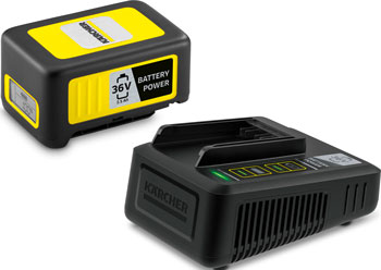 Комплект (аккумулятор, устройство быстрой зарядки) Karcher Battery Power 36/25 24450640 аккумулятор зарядное устройство karcher starter kit battery power 36 25 2 445 064