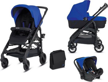 Коляска Inglesina 3 в 1 Trilogy System Colors на шасси Trilogy City Black (AA 35 H0SBL AE 38 H 0000 S) Синяя