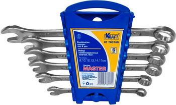 Набор комбинированных ключей Kraft Master KT 700760 набор комбинированных ключей kraft master с держателем 9 предметов