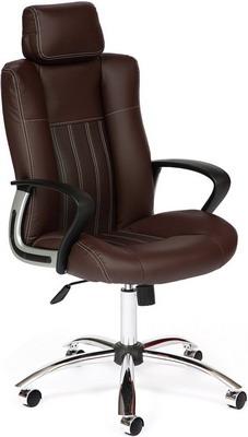 Кресло Tetchair OXFORD хром (кож/зам коричневый/коричневый перфорированный 36-36/36-36/06) кресло компьютерное tetchair оксфорд oxford доступные цвета обивки искусств корич кожа искусств корич перфор кожа
