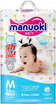 Трусики-подгузники Manuoki M 6-11 кг 56 шт JPM 001