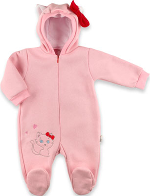 Комбинезон Baby Boom Китти с капюшоном и бантиком для девочки футер с начесом Рт. 74 Розовый комплект для девочки cherubino цвет светло розовый серый 5 предметов can 9407 размер 74