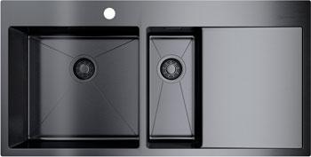 Кухонная мойка OMOIKIRI, Akisame 100-2-GM-L нерж.сталь/вороненая сталь 4973103, Япония  - купить со скидкой