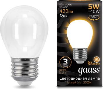 Лампа GAUSS LED Filament Шар OPAL E14 5W 420lm 2700K 105201105 Упаковка 10шт лампочка gauss filament свеча e14 5w 2700k 420lm warm light 2шт 103801105p