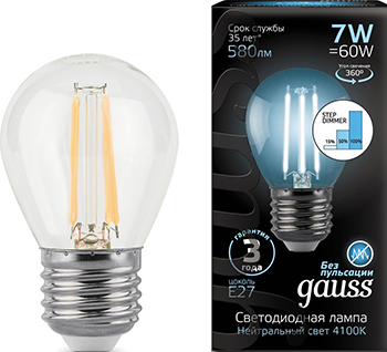 цена Лампа GAUSS LED Filament Шар E27 7W 580lm 4100K step dimmable 1/10/50 105802207-S онлайн в 2017 году