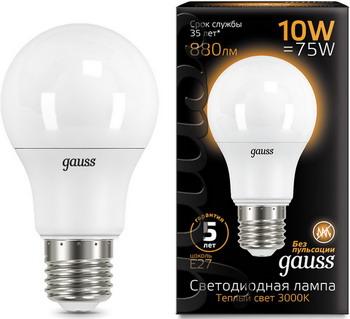 цена Лампа GAUSS LED A60 10W E27 880lm 3000K 102502110 Упаковка 10шт онлайн в 2017 году