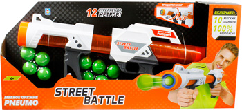 Игрушечное оружие 1 Toy Street Battle с мягкими шариками (в компл. 10 шар. 3 4 см) короб. Т13653