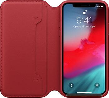 Кожаный чехол Apple iPhone XS Leather Folio - (PRODUCT) RED MRWX2ZM/A
