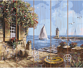 Картина по номерам Molly на дереве (40х50) ЛЕТНЕЕ КАФЕ (28 цветов) на подрамнике KD0624