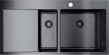 Кухонная мойка Omoikiri Akisame 100-2-GM-R нерж.сталь/вороненая сталь 4973104 кухонная мойка omoikiri akisame 78 gm r нерж сталь вороненая сталь 4973100