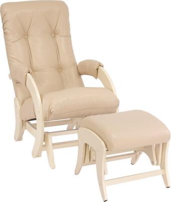 Кресло для кормления и укачивания ребенка + пуф Milli Smile Дуб шампань к/з Polaris Beige 4627159508360