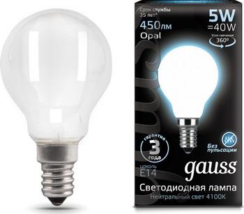 цена Лампа GAUSS LED Filament Шар OPAL E14 5W 450lm 4100K 105201205 Упаковка 10шт онлайн в 2017 году