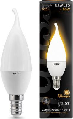 Лампа GAUSS LED Свеча на ветру E14 6.5W 520lm 3000K 104101107 Упаковка 10шт цена