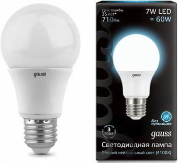 Лампа GAUSS LED A60 E27 7W 710lm 4100K 102502207 Упаковка 10шт