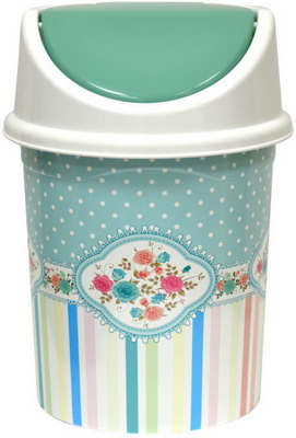 Бак для мусора Виолет с подвижной крышкой 14л с декором ''Винтаж'' 141466 бак пластиковый с крышкой синий 70л эп 097679