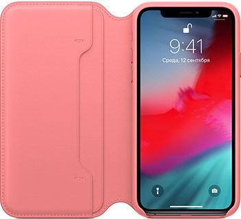Кожаный чехол Apple iPhone XS Leather Folio - Peony Pink MRX12ZM/A