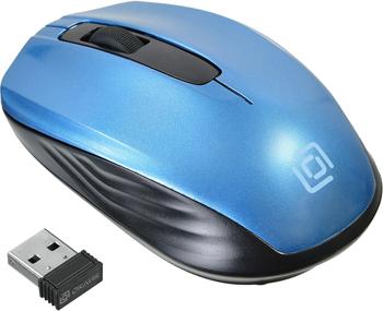 Мышь Oklick 475MW черный/синий оптическая (1200dpi) беспроводная USB (2but) мышь oklick 475mw оптическая беспроводная usb черный и синий [tm 1500 black blue]