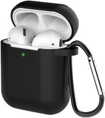 Фото - Чехол для наушников Eva для Apple AirPods 1/2 с карабином - Черный (CBAP40B) сифон для душевого поддона unicorn easyopen с латунным выпуском 1 1 2 d40 с отводом g311e