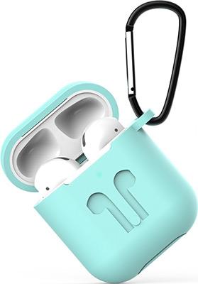 Фото - Чехол силиконовый Eva для наушников Apple AirPods 1/2 с карабином - Бирюзовый (CBAP01TQ) сифон для душевого поддона unicorn easyopen с латунным выпуском 1 1 2 d40 с отводом g311e