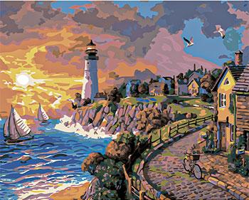 Фото - Картина по номерам Рыжий кот 40х50 см по номерам. МАЯК У МОРЯ Х-8228 рыжий кот картина по номерам маяк на море 30х40 см х 0412