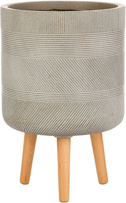 Напольный горшок для цветов Идеалист Lite Страйп файберстоун серо-коричневый Д30 В53 см 37 л WSTRIP30-T