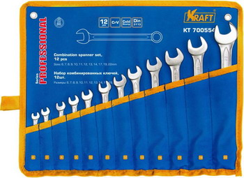 Набор комбинированных ключей Kraft KT 700554 набор комбинированных ключей kraft master с держателем 9 предметов
