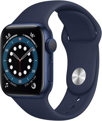 Умные часы Apple Watch Series 6 40mm (MG143RU/A) Blue Aluminium Case with Deep Navy Sport Band умные часы apple watch series 6 40mm space gray aluminium case with anthracite black nike sport band m00x3ru a
