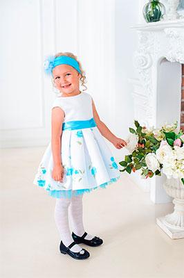 Платье Стильные непоседы 092 Ксюшенька (голубые розы) размер 30-110 фото