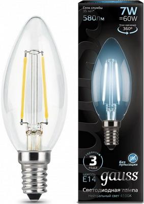 Лампа GAUSS Filament Свеча E 14 7W 4100 K 103801207 лампа odeon lg 45 e 14 w7 e 14 g 45 7w 3000 k