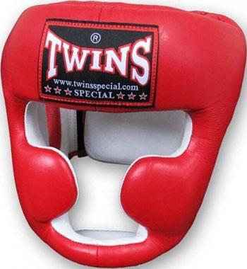 Шлем боксерский Twins (кожа) (красный) размер М HGL-6-red-M