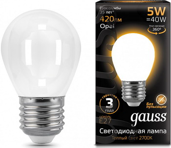 Лампа GAUSS LED Filament Шар OPAL E27 5W 420lm 2700K 105202105 Упаковка 10шт
