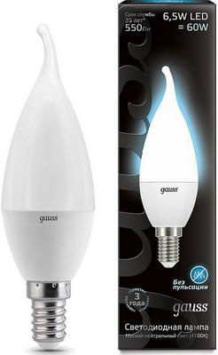 Лампа GAUSS LED Свеча на ветру E14 6.5W 550lm 4100K 104101207 Упаковка 10шт лампа gauss led elementary свеча на ветру 8w e14 540lm 4100k 34128 упаковка 10шт
