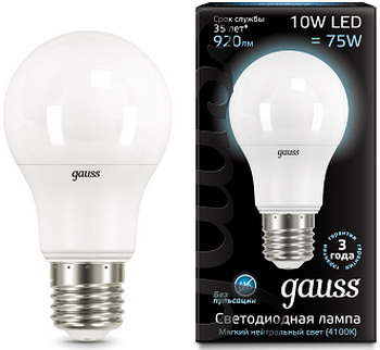 Лампа GAUSS LED A60 10W E27 920lm 4100K 102502210 Упаковка 10шт лампочка gauss elementary led e27 a60 10w 4100k 23220