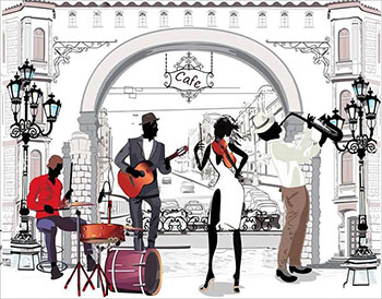 Алмазная мозаика Цветной ''Уличные музыканты'' (40х50) на подрамнике lg215