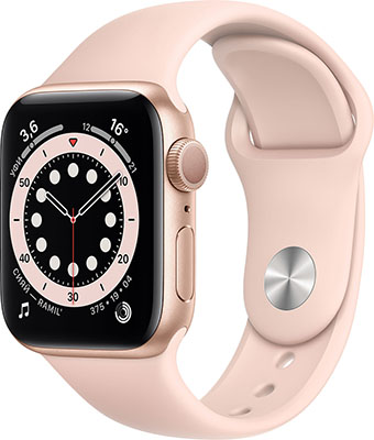 Умные часы Apple Watch Series 6 40mm (MG123RU/A) Gold Aluminium Case with Pink Sand Sport Band смарт часы apple watch series 6 40 мм золотой mg123ru a