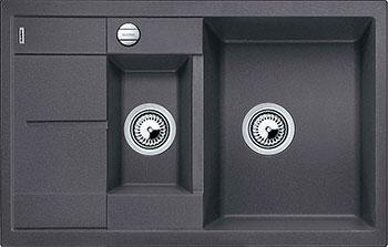 Кухонная мойка BLANCO METRA 6S COMPACT SILGRANIT темная скала с клапаном-автоматом кухонная мойка blanco dalago 45 f silgranit темная скала с клапаном автоматом