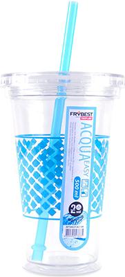 Стакан Frybest AC1-04 с трубочкой (500 мл) Голубой contigo детский стакан для воды floating straw tumbler с трубочкой цвет голубой 470 мл
