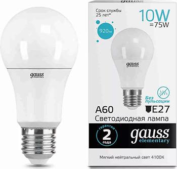 Лампа GAUSS LED Elementary A 60 10 W E 27 920 lm 4100 K 1/10/50 23220