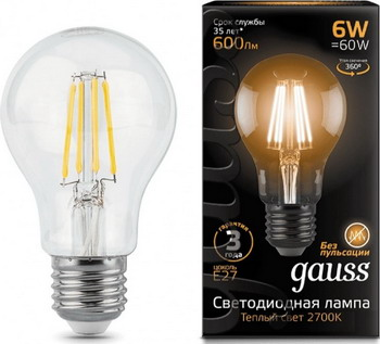 Лампа GAUSS LED Filament A60 E27 6W 600lm 2700К 102802106 Упаковка 10шт цены онлайн