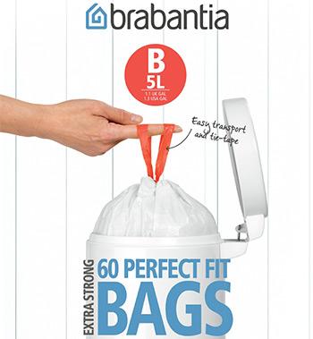 Мешки для мусорных ведер Brabantia 5л 60шт 348969 фото