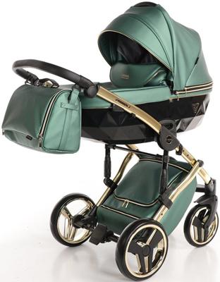 коляски 2 в 1 Коляска детская 2 в 1 Junama FLUO LINE JDFL-02 (кожа зеленый/короб черный/рама золото)